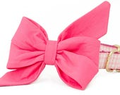 Crew LaLa ™ Azalea on Light Pink Gingham Belle Bow Dog Collar