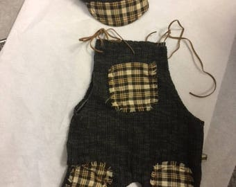 Newborn baby boy Romper, Photo Prop Newborn , Photo Prop, Beautiful, Plaid, Olive Green