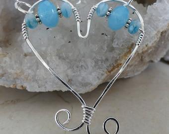 Heart Necklace, Silver Heart, Heart Jewelry, Heart Pendant, Heart, Czech Glass Heart Necklace, Blue Heart Necklace, Czech Glass, Blue Heart