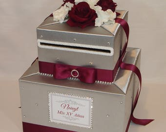 Silver and Burgundy WeddingCard Box /White accents with Rhinestones/Flowers
