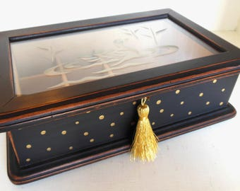 Vintage Upcycled Jewelry Box Black Gold Dots Tassel Handmade 80's (item 5)
