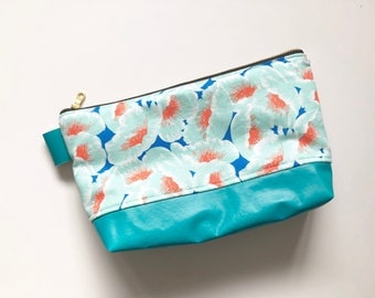 Ready to ship! Blue floral makeup bag with turquoise vinyl bottom