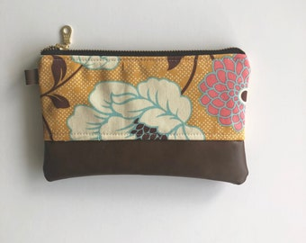 Ready to ship - mustard floral with brown faux leather