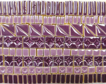 170+ Handmade Ceramic Mosaic Tile Pieces Ceramic Tile Stoneware Deep Purple Lavender Glazed Craft Tiles Assortment #1