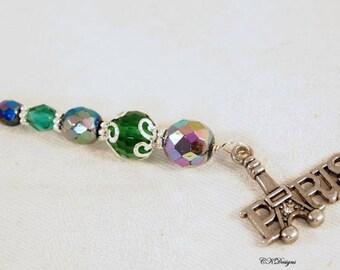 Eiffel Tower Keychain. Paris Beaded Keyring. Gift for Her, Bag Charm, OOAK Handmade Keychain. Gift for Her. CKDesigns.US