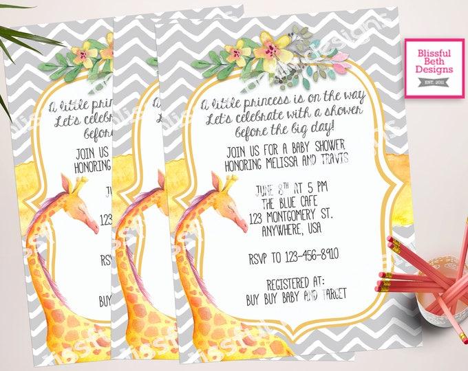 GIRAFFE BABY SHOWER, Yellow and Gray Baby Shower Invitation, Printable Baby Shower Invitation, Baby Shower, Giraffe Baby Shower, Watercolor