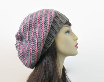 Crochet Slouchy Hat Gray Knit Beanie Gray and Pink Striped Slouchy Hat Gray Beret Gray Slouchy Tam Gray Crochet Hat Gray Beanie Knit Tam