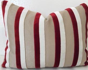 CHERRY RED velvet stripe pillow, Red White stripe cushion cover, RED velvet cushion, white stripe cushion, White Red pillow, white pillow