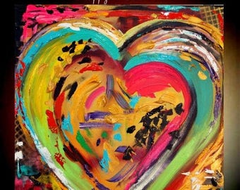 "SALE Original 24""gallery canvas Abstract HEART painting,Original comtemporary Art,lots of texture Ready to hang  by Nicolette Vaughan Horner"