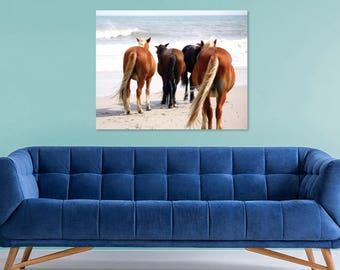 Coastal Photography | Wild Horses on Beach | Equine Photography | Horse Photography Print | Horse Decor Art | Beach Wall Art | Coastal Decor