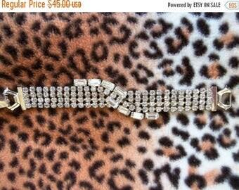 Now On Sale 1950's Rhinestone Bracelet Unique Rare Design Vintage Rockabilly Mad Men Mod Hollywood Regency Collectibles