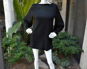Vintage 1970's Amy Adams Black Knit Mini Dress - Size