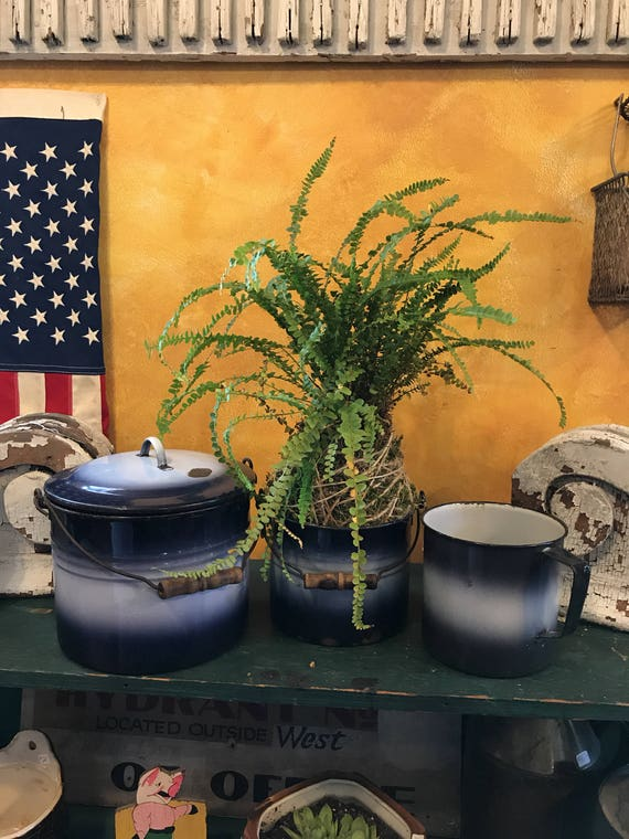 Vintage Graniteware Pails or Pots w Handles 1930s Blue & White set of 3