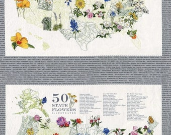 20 % off thru 11/30 Moda fabric panel STATE FLOWERSCAPES- state flowers on grey, USA map 47000-13
