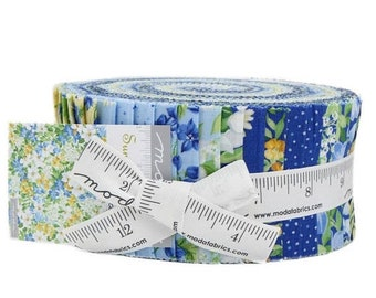 15% off thru Mar.19th SUMMER BREEZE V Moda Jelly roll blue and yellow floral fabric 40 2.5 inch strips 33300Jr