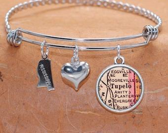 Tulepo MS Map Charm Bracelet State of Mississippi Bangle Cuff Bracelet Vintage Map Jewelry Stainless Steel Bracelet
