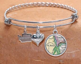 St Helen WA Map Charm Bracelet State of Washington Bangle Cuff Bracelet Vintage Map Jewelry Stainless Steel Bracelet