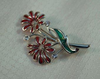 1980's Enameled Flower Brooch, Enameled Fashion Brooch