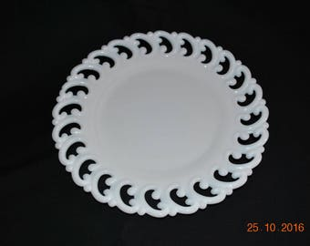"Vintage Fenton Milk Glass Lacy Edge 9"" Sandwich Plate"