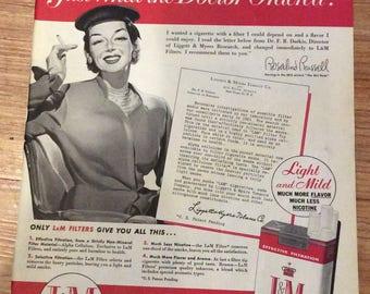 Lillian Russell endorses L&M Cigarettes 1954 advertisement