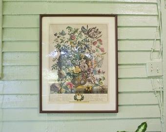 Vintage Pastel Spring Floral Frame Large Vintage Flower Print Artwork Wall Hanging Whimsical Room Decor