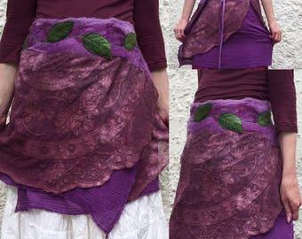FREE Shipping -Fairy wrap skirt- fairy skirt-layering skirt-larping costume-upcycled skirt-leaf skirt-pixie elf- nuno felted skirt-purple sk
