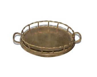 Vintage Brass Tray Small Brass Tray Mini Brass Bamboo Tray Brass Ring Dish Trinket Dish