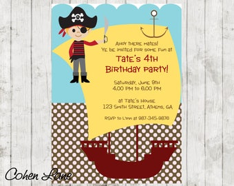 Pirate Invitation.  Pirate Party Invite.  Pirate Birthday Party.  Pirate Birthday Invite.  Pirate Invite.  Ahoy Matey. Digital Invitation.