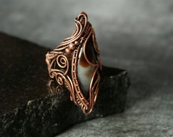 Ruffles - Brown Agate Statement Ring Size US7 1/2 Copper Intricate Wire Wrapped OOAK