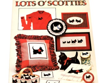 Lots O Scotties Vintage Counted Cross-Stitch Pattern Leisure Arts Leaflet 337, Anne Van Wagner Young, Scottish Terrier Dogs itsyourcountry