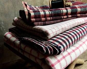 French Antique Homespun Linen Fabric. Antique Checkered Linen Cloth. Handloomed French Linen Farmhouse Fabrics. Red, Off-White & Dark Navy