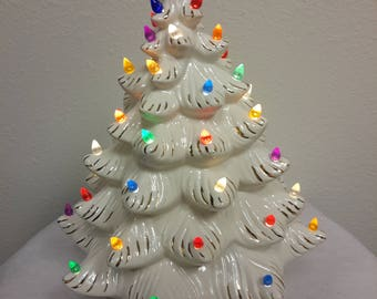 Vintage Lighted Ceramic Christmas Tree White With Gold Accents Holland Mold Multi Colored Bulbs 2 Piece Space Saver Tree