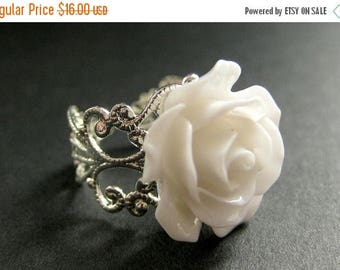 SUMMER SALE White Rose Ring. White Flower Ring. Filigree Ring. Adjustable Ring. Flower Jewelry. Handmade Jewelry.