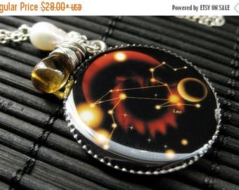 BACK to SCHOOL SALE Leo Zodiac Necklace. Sun Sign Charm Necklace in Amber. Handmade Jewelry.