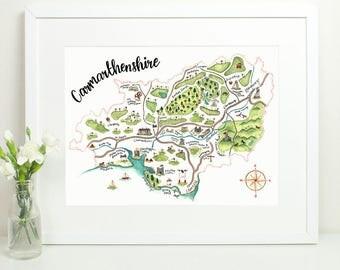 Carmarthenshire Map Print. Welsh Map Print. Carmarthen. Sir Gaerfyrddin. Hand painted illustrated map. Wales Welsh Cymru Map of Wales. 16x12