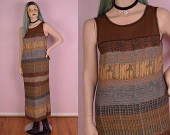 90s Multi Pattern Striped Dress/ US 10/ 1990s