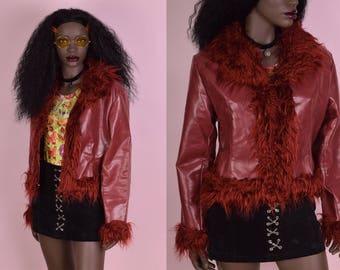 90s Shaggy Faux Fur Trim Red Faux Leather Jacket/ Large/ 1990s