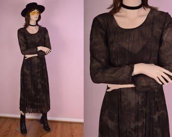90s Brown Sheer Tie Dye Maxi Dress/ Medium/ 1990s/ Long Sleeve