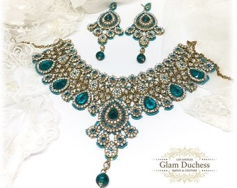Wedding jewelry set, Crystal bridal bib necklace earrings, Indian Bollywood kundan fashion jewelry set, Gold Teal blue evening jewelry set
