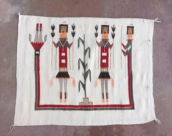 Antique Native American Navajo Yei Rug  C. 1930