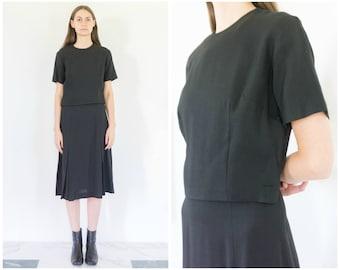 50s Minimal Tailored Black Short Sleeve Midi Dress