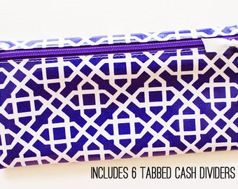 Purple and white cash envelope system budget wallet with 6 tabbed dividers