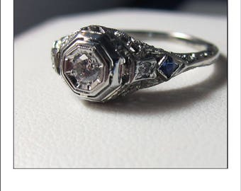 Antique Art Deco 18k VS Diamond  Sapphire Filigree Engagement Ring