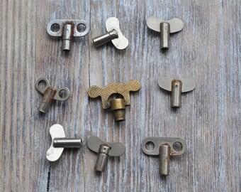 Vintage Soviet Russian alarm clock winding keys.Set of 9.