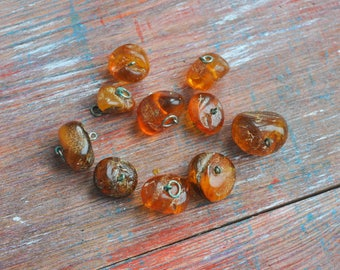 Vintage Genuine cognac Baltic Amber stones with hole. Jewelry supplies. Set of 10.