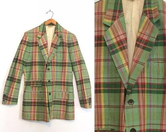 ON SALE Vintage 60s Green Plaid Blazer / Preppy Spring Suit Jacket / Madras Mid Century Sport Coat / Size 40