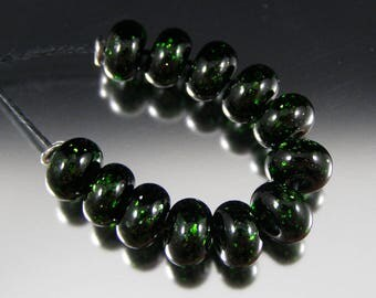 Green Aventurine - Handmade Lampwork Spacer Beads by That Bead Girl