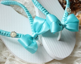 Bridesmaid gift FLIP FLOPS Aqua blue, Bridesmaid favors, Wedding Flip Flops, Bridal Flip Flops, Beach Sandals, Bachelorette party favor