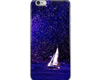 Sailing Purple Under the Milky Way, Nautical Art, Sailboat, Coastal Art, Fantasy Art, Sea, Ocean, iPhone Case