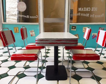 """1:6 scale Table 4 chairs works with Coca Cola Soda Fountain Doll (Barbie, Blythe, 12"""" Figures, Action Figure)"""